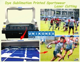 Dye sublimation printed sportswear laser cutting